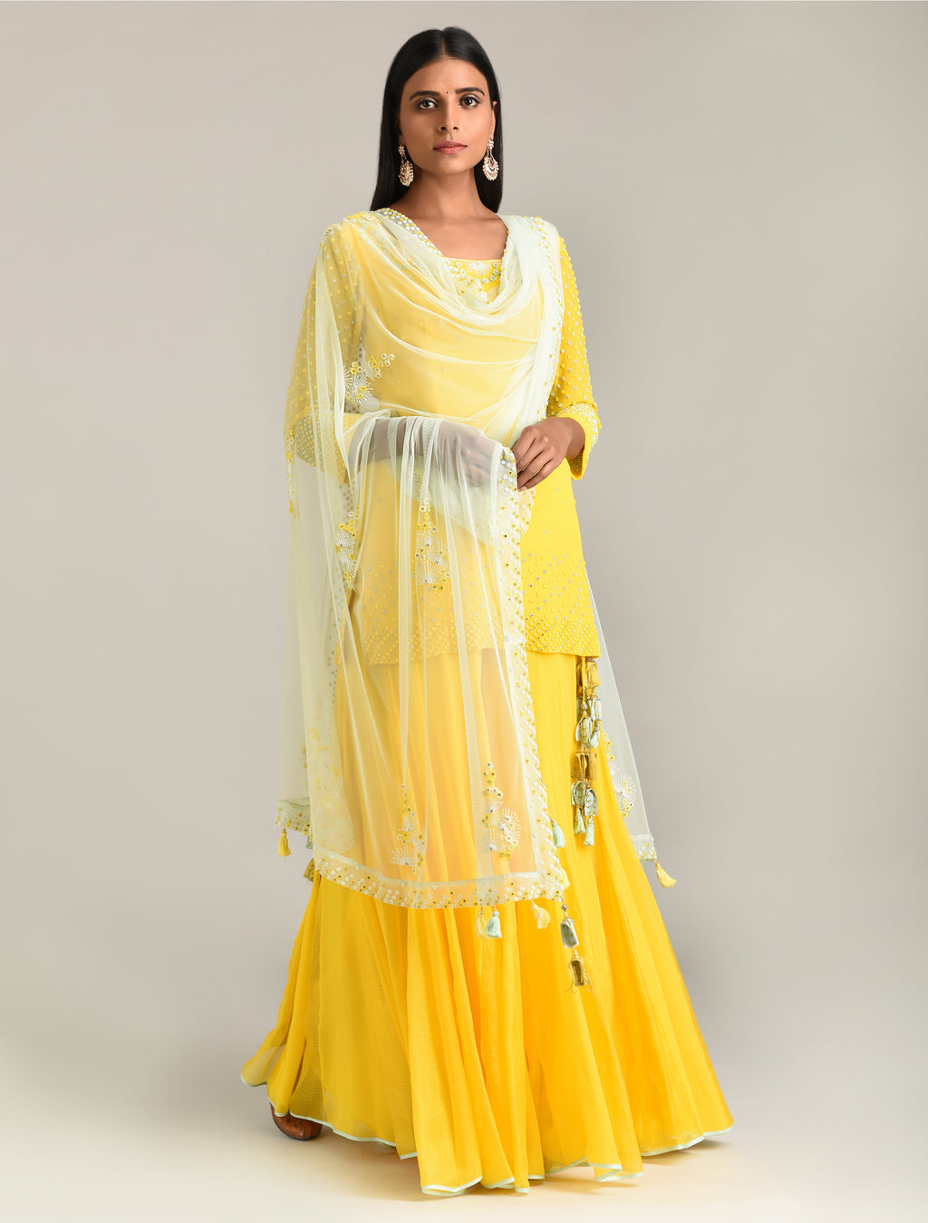 MADSAM TINZIN LEMON YELLOW EMBROIDERED KURTA SET
