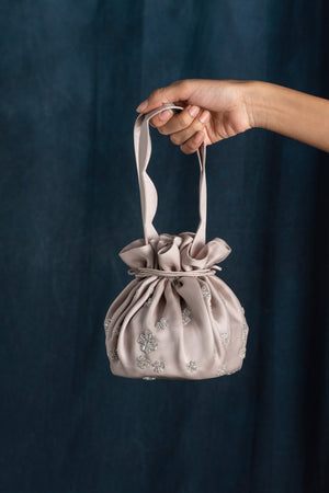 Grey Hand Embroidered Satin Drawstring Bag