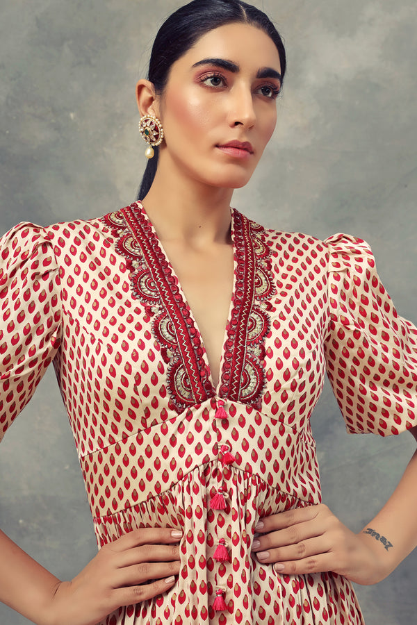 Bhumika Sharma-Red Bindu Print Short Puff Sleeves Dress-INDIASPOPUP.COM