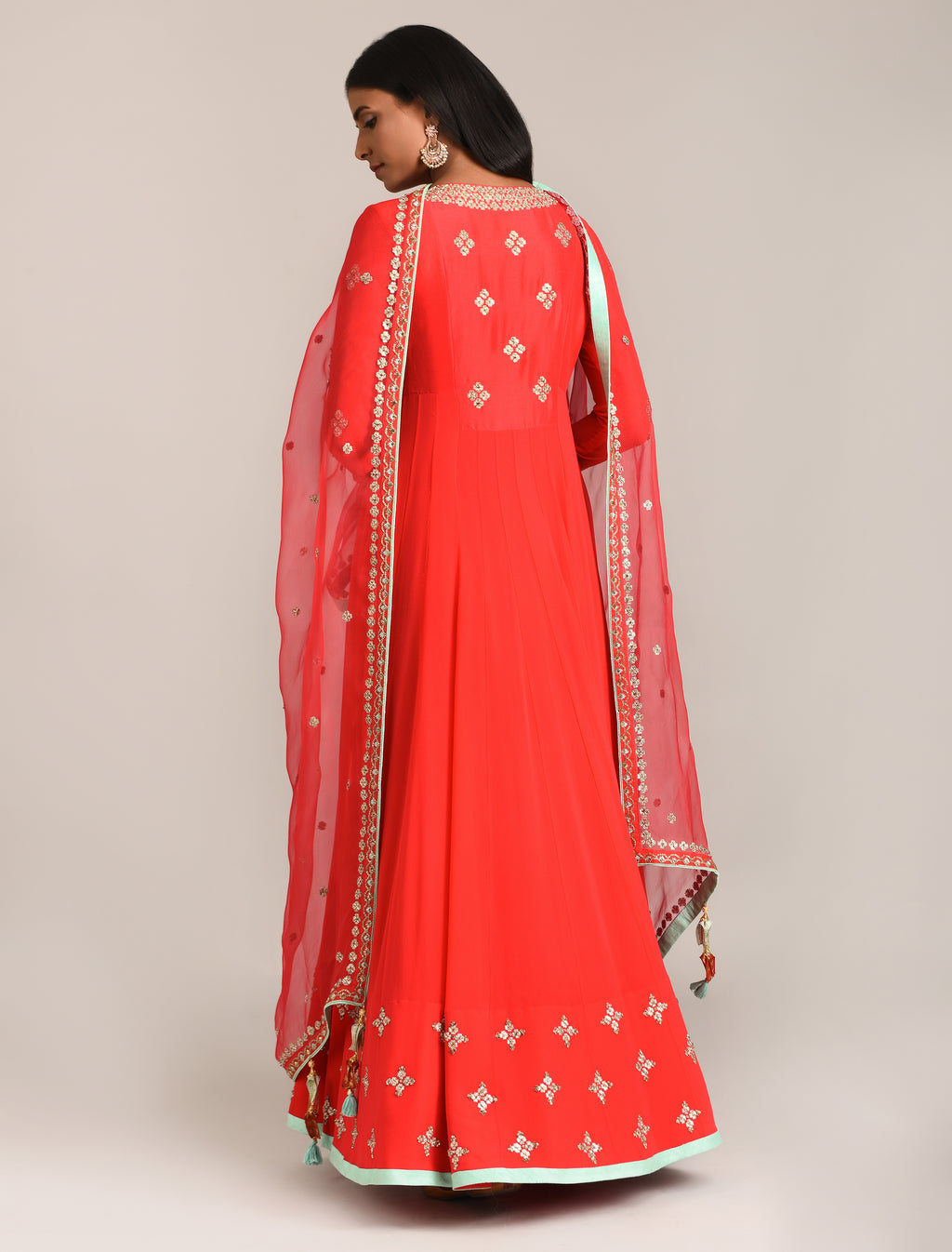 MADSAM TINZIN RED EMBROIDERED ANARKALI SET