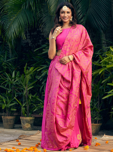 Pink City-Pink Predraped Saree-INDIASPOPUP.COM