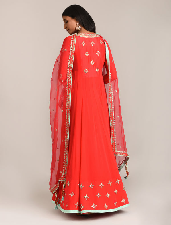 Madsam Tinzin - Red Embroidered Anarkali Set - INDIASPOPUP.COM
