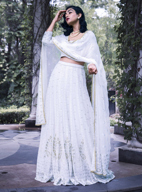 Umrao Couture - White Chikankari Embroidered Lehenga Set - INDIASPOPUP.COM