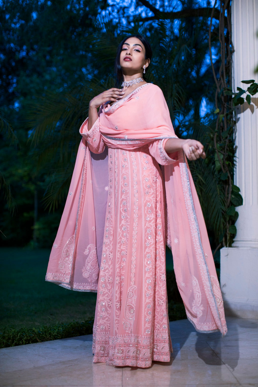 Umrao Couture - Peach Chikankari Embroidered Anarkali Set - INDIASPOPUP.COM