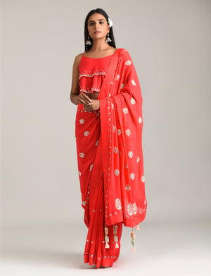 MADSAM TINZIN RED EMBROIDERED GEORGETTE SAREE