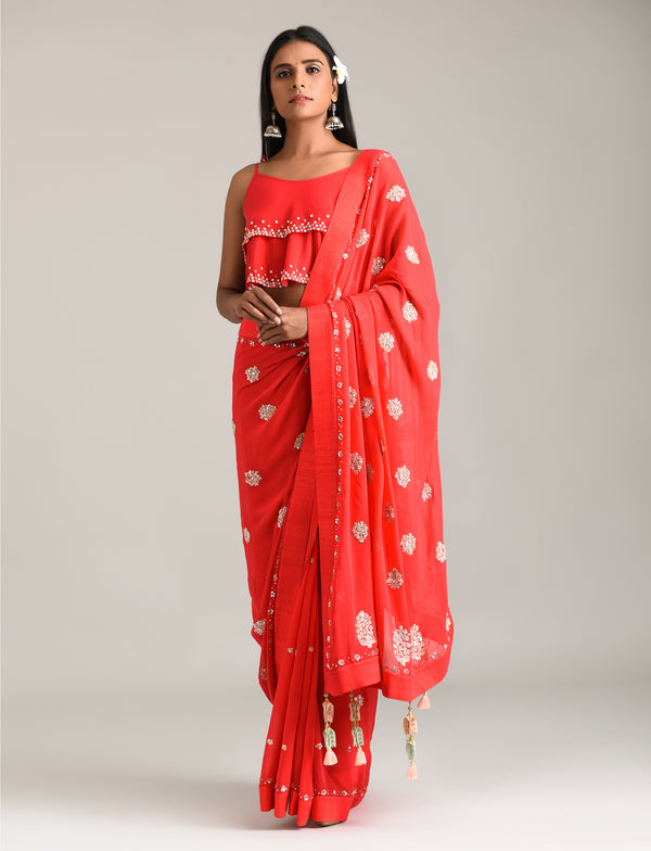 Madsam Tinzin - Red Embroidered Georgette Saree - INDIASPOPUP.COM
