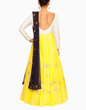 Salt And Spring - Off White And Yellow Anarkali - INDIASPOPUP.COM