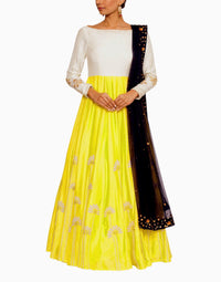 SALT AND SPRING OFF WHITE AND YELLOW ANARKALI