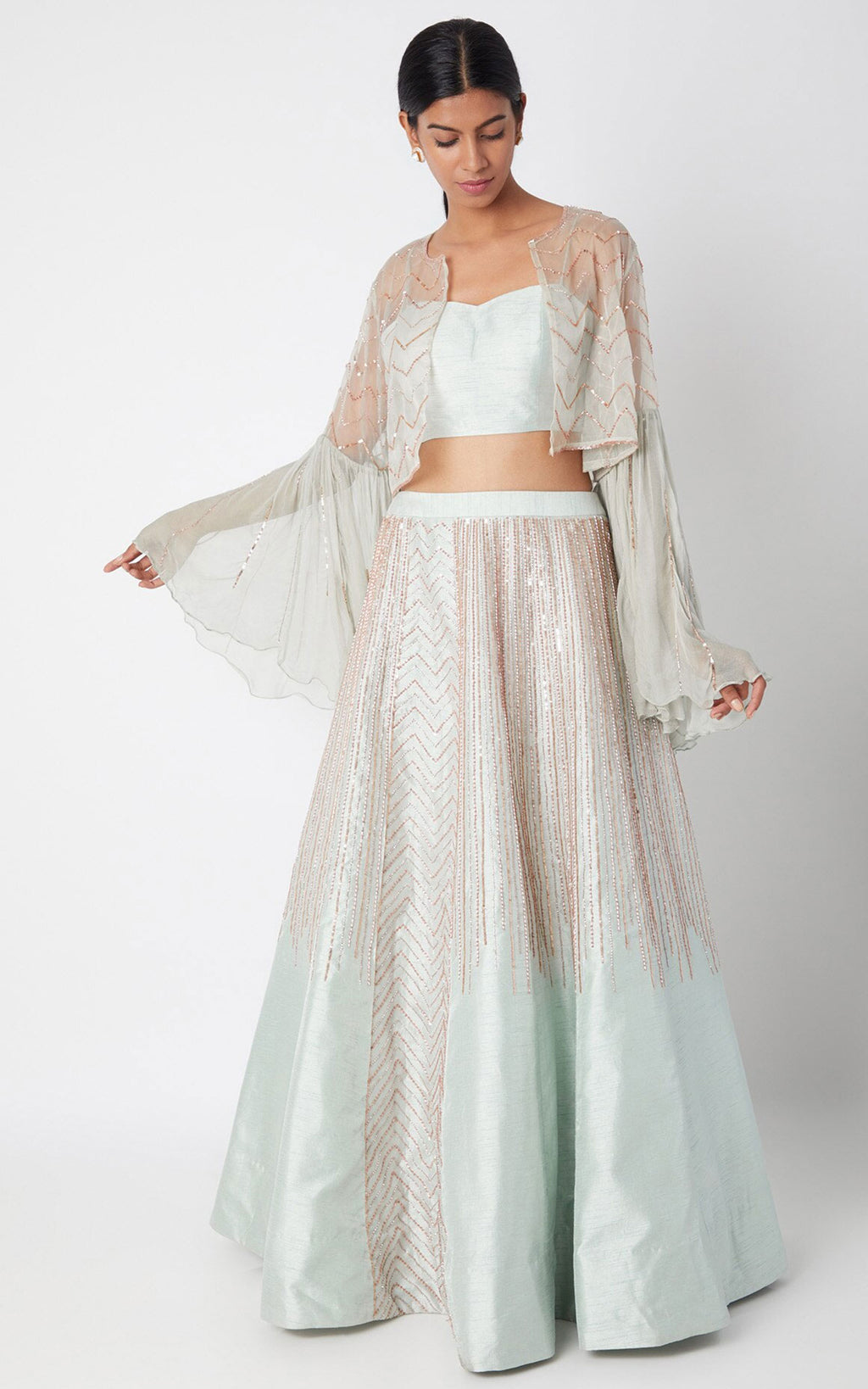 Light Mint Green Embroidered Jacket Lehenga Set