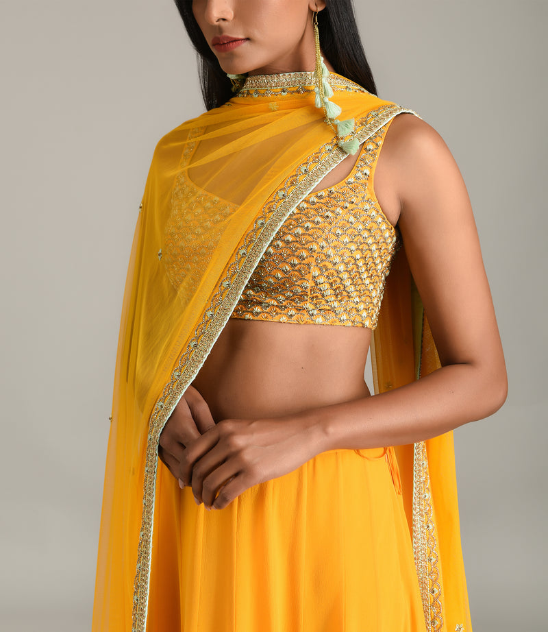 MADSAM TINZIN SUNRISE ORANGE EMBROIDERED LEHENGA SET