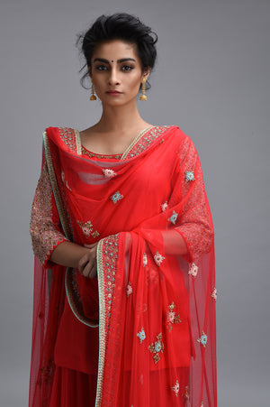 Madsam Tinzin - Red Embroidered Sharara Set - INDIASPOPUP.COM