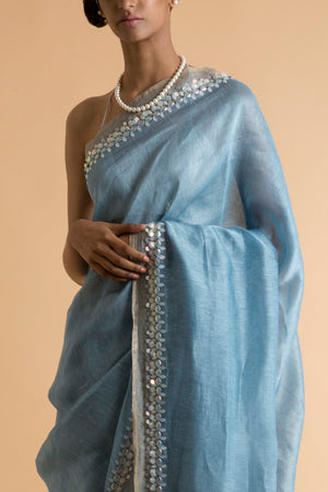 Saksham & Neharicka - Blue Embroidered Linen Silk Saree - INDIASPOPUP.COM