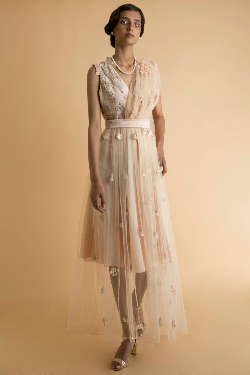 Saksham & Neharicka - Peach Embroidered Sheer Dress With Drape - INDIASPOPUP.COM