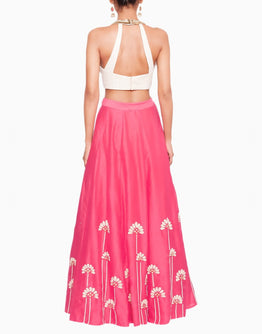 Off White Peter Pan Blouse and Embroidered Pink Lehenga