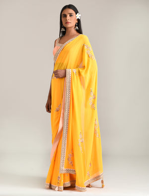 Madsam Tinzin - Sunrise Orange Embroidered Saree - INDIASPOPUP.COM