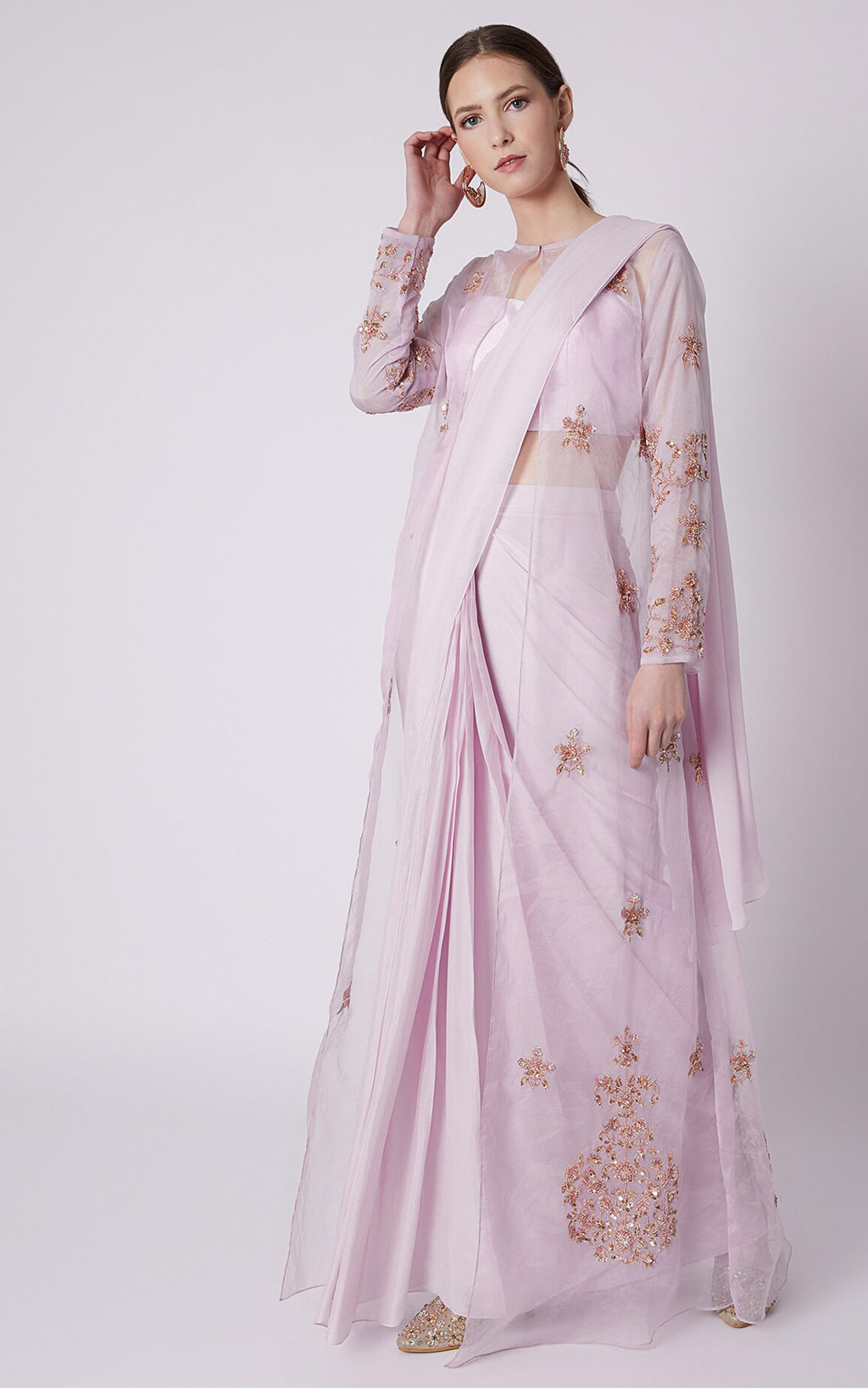 Lilac Saree Set With Embroidered Jacket