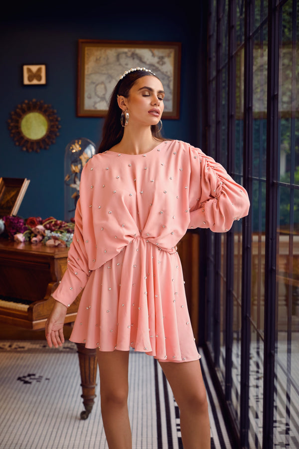 Kangana Trehan-Soft Peach Embellished Dress-INDIASPOPUP.COM