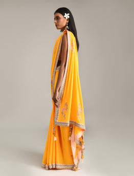 Sunrise Orange Embroidered Saree