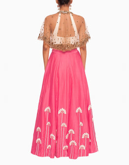 Off White Blouse and Embroidered Pink Lehenga with a Bronze Cape