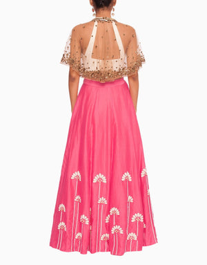 SALT AND SPRING EMBROIDERED PINK LEHENGA WITH BRONZE CAPE
