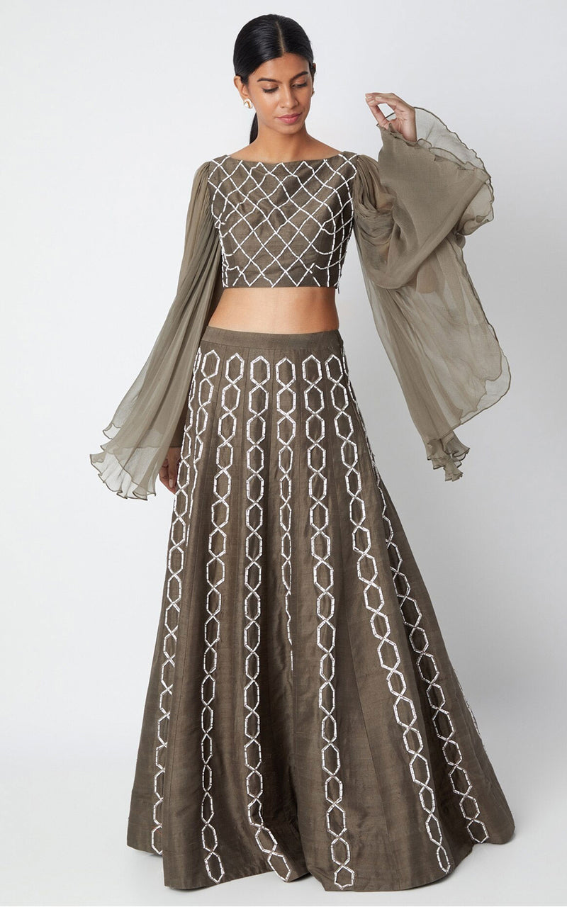 Pink Peacock Couture-Olive Green Embroidered Lehenga With Top-INDIASPOPUP.COM