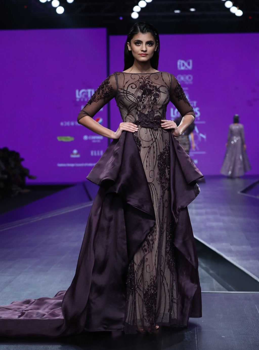Agt By Amit Gt-Bordeau Gown With Bird Motif-INDIASPOPUP.COM