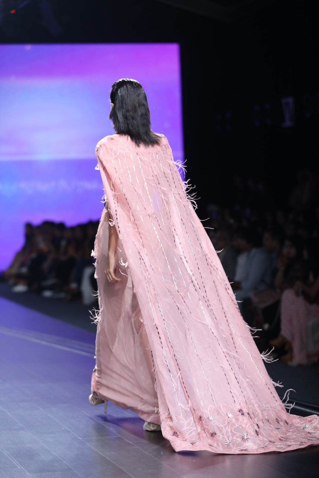 Agt By Amit Gt-Pink Cape Gown With Foiled Flowers-INDIASPOPUP.COM