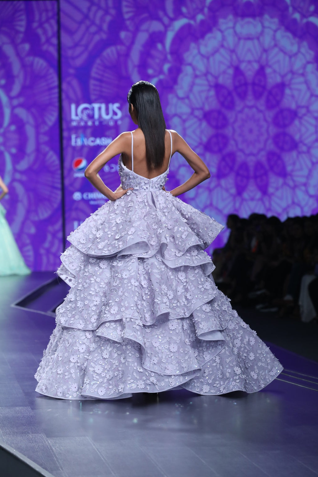 Agt By Amit Gt-Mauve Embroidered Tiered Gown-INDIASPOPUP.COM