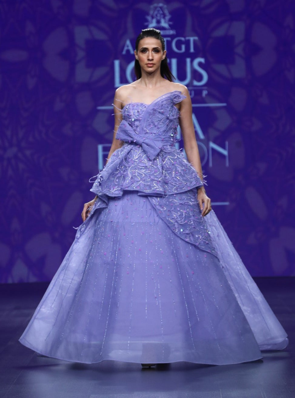 Agt By Amit Gt-Carlose 3D Flower Bow Ball Gown-INDIASPOPUP.COM