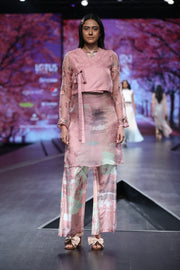 Pink Silk Cage Printed Palazzo With Tunic