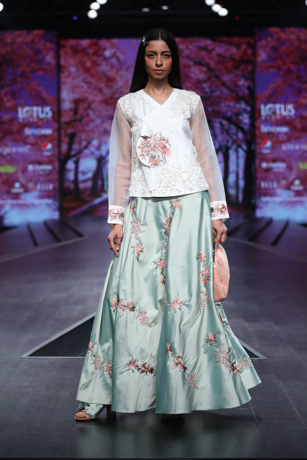 Green Floral Embroidered Tafeta Skirt