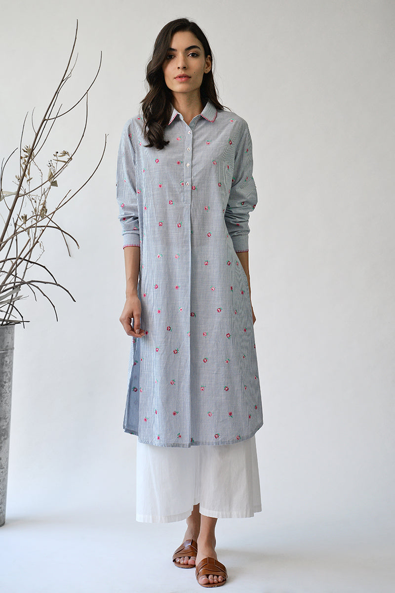 Blue Alexandra Rose Straight Kurta