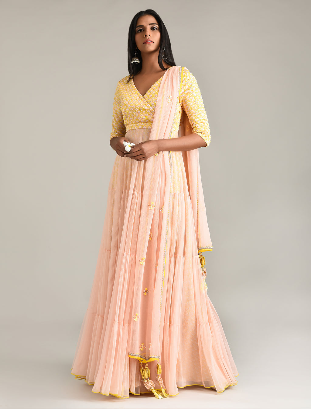 MADSAM TINZIN YELLOW & PINK ANARKALI SET