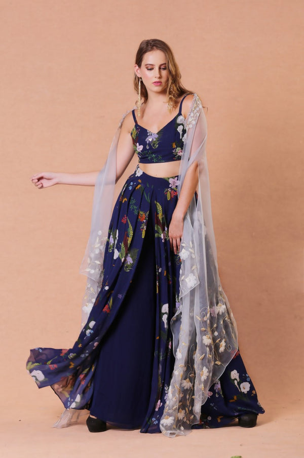 Mahima Mahajan - Navy Printed Cape With Pants - INDIASPOPUP.COM