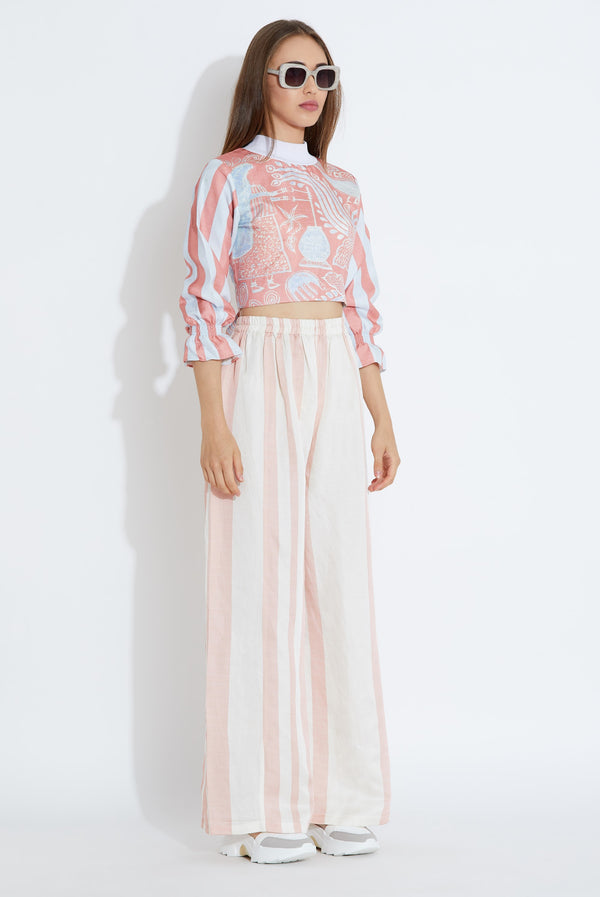 Aartivijay Gupta-Pink & White Blouse With Pants-INDIASPOPUP.COM