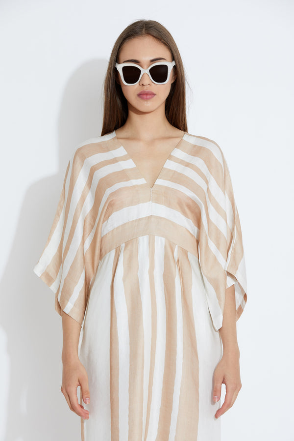 Aartivijay Gupta-Beige & White Stripes Dress-INDIASPOPUP.COM