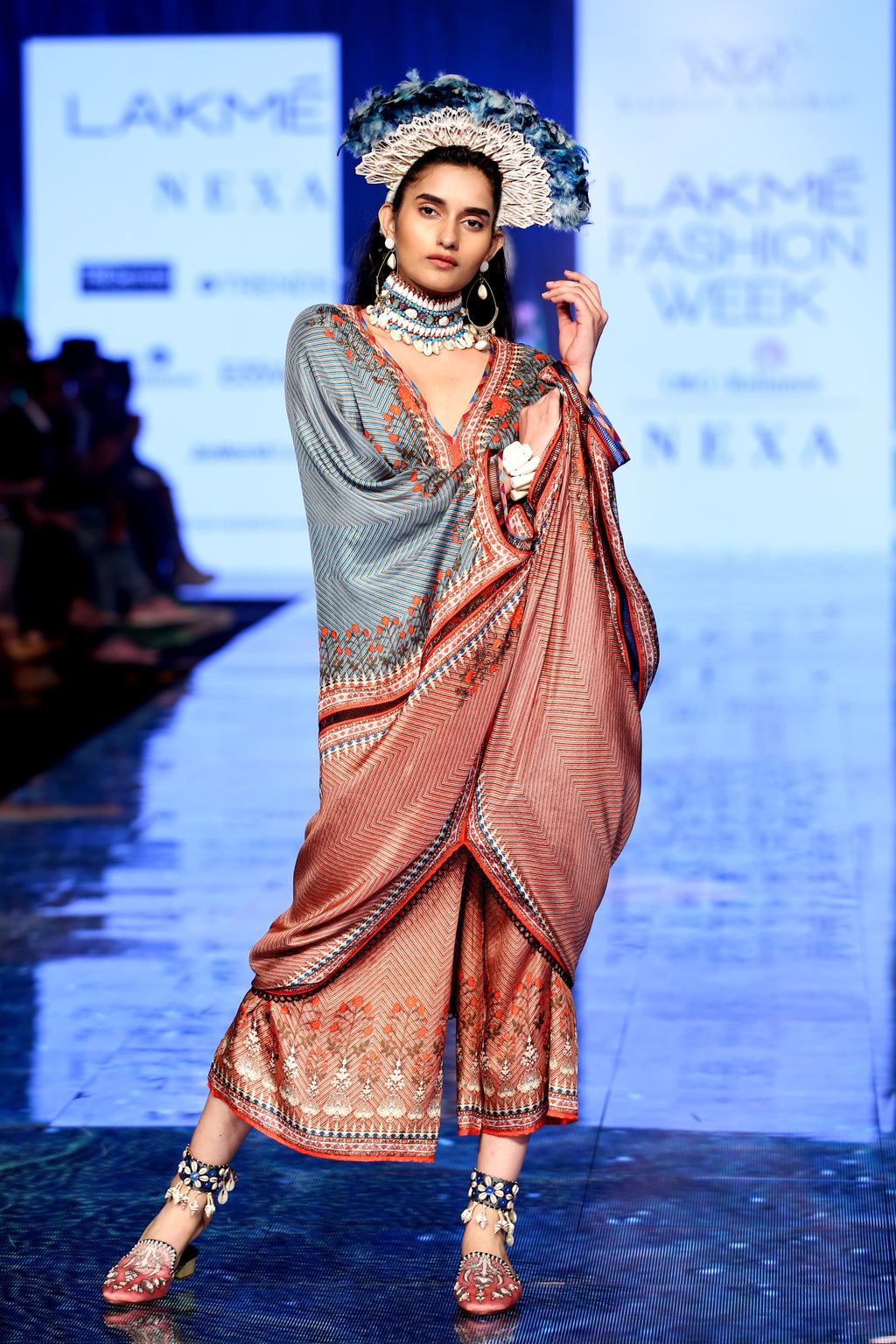 Rajdeep Ranawat-Coral Draped Kaftan Dress With Pants-INDIASPOPUP.COM
