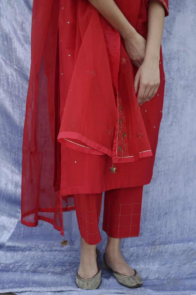 Label Earthen - Red Kurta & Straight Pant - INDIASPOPUP.COM