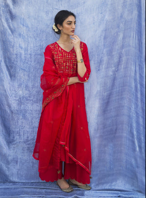 Label Earthen - Red Embroidered Kurta & Palazzo - INDIASPOPUP.COM