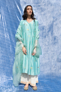 Label Earthen - Powder Blue Kurta & Pleated Palazzo - INDIASPOPUP.COM