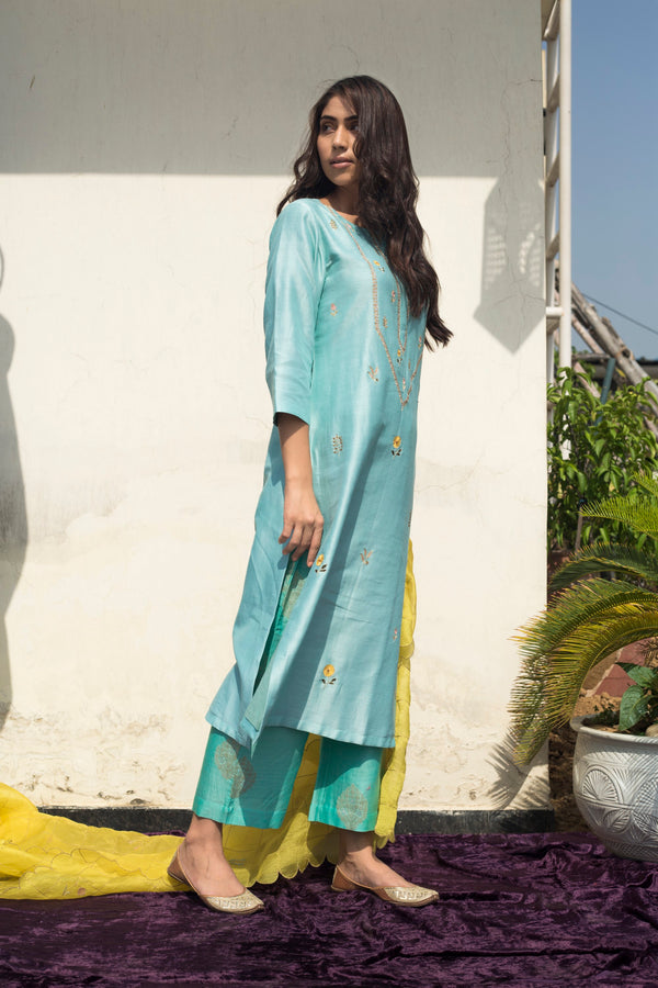 Label Earthen - Powder Blue Kurta & Palazzo - INDIASPOPUP.COM