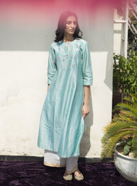 Label Earthen - Aqua Green Kurta & Palazzo - INDIASPOPUP.COM