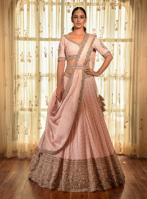 Powder Pink Chikankari Lehenga Set