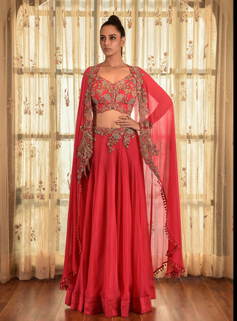 Red Calica Dust Chiffon Lehenga Set