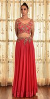 Dolly J-Red Calica Dust Chiffon Lehenga Set With Cape-INDIASPOPUP.COM