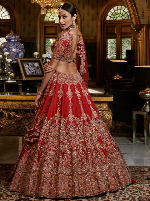 Dolly J-Maroon Naima Raw Silk Lehenga Set-INDIASPOPUP.COM