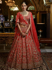 Dolly J-Red Yuvika Raw Silk Lehenga Set-INDIASPOPUP.COM
