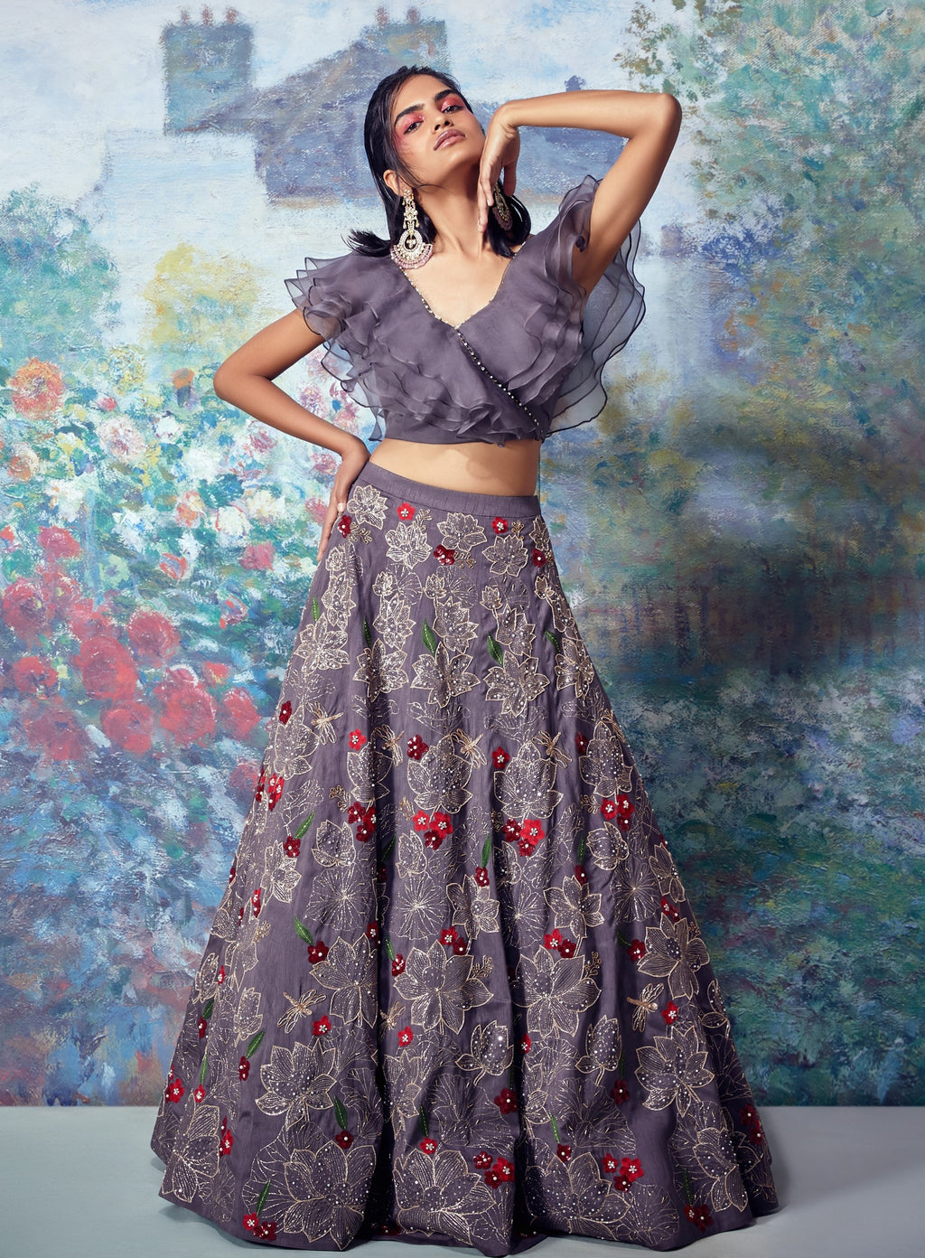 Grey Embroidered Lehenga With Crop Top