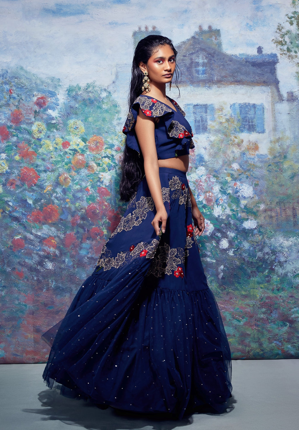 Blue Embroidered Crop Top With Lehenga