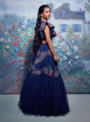 Taavare-Blue Embroidered Crop Top With Lehenga-INDIASPOPUP.COM